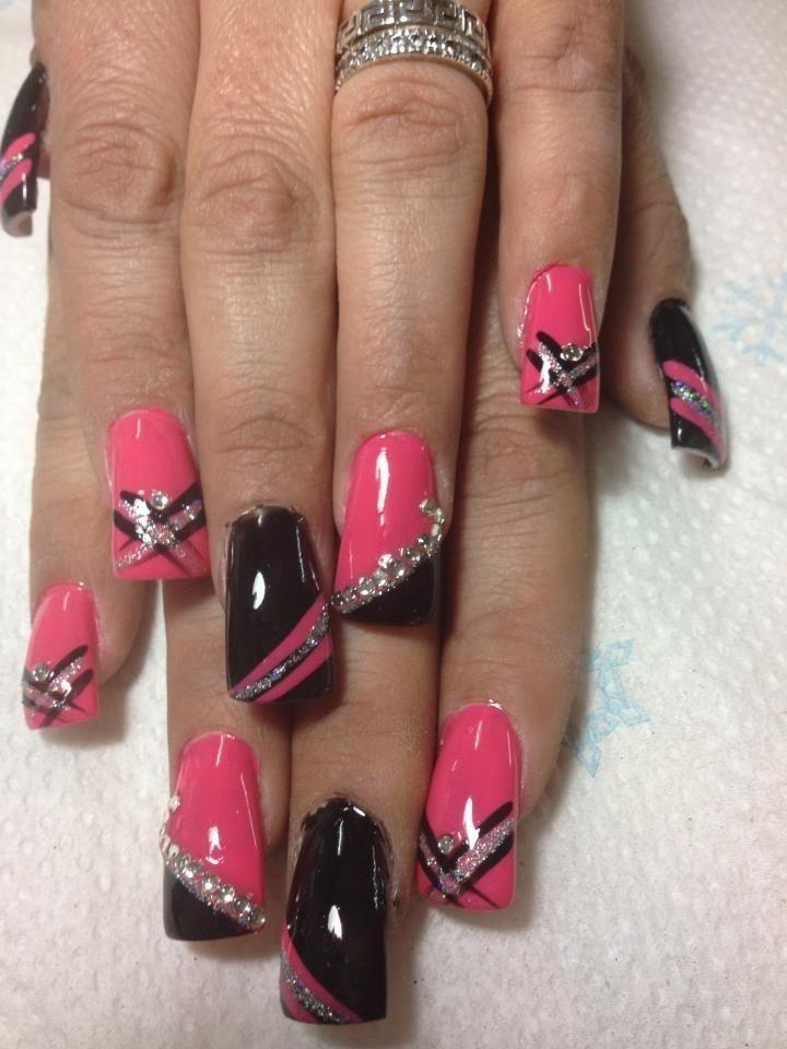 Black and hot pink nail designs gallery nail art and nail design pink black and silver nail designs images nail art and nail pink black and silver nail prinsesfo Image collections