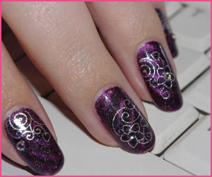 nail-art-silver-flowers